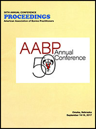 "Cover image of the 50th Conference Proceedings: Text of ""AABP Annual Conference"" with the AABP logo superimposed over an interlocking 50. Yellow background."