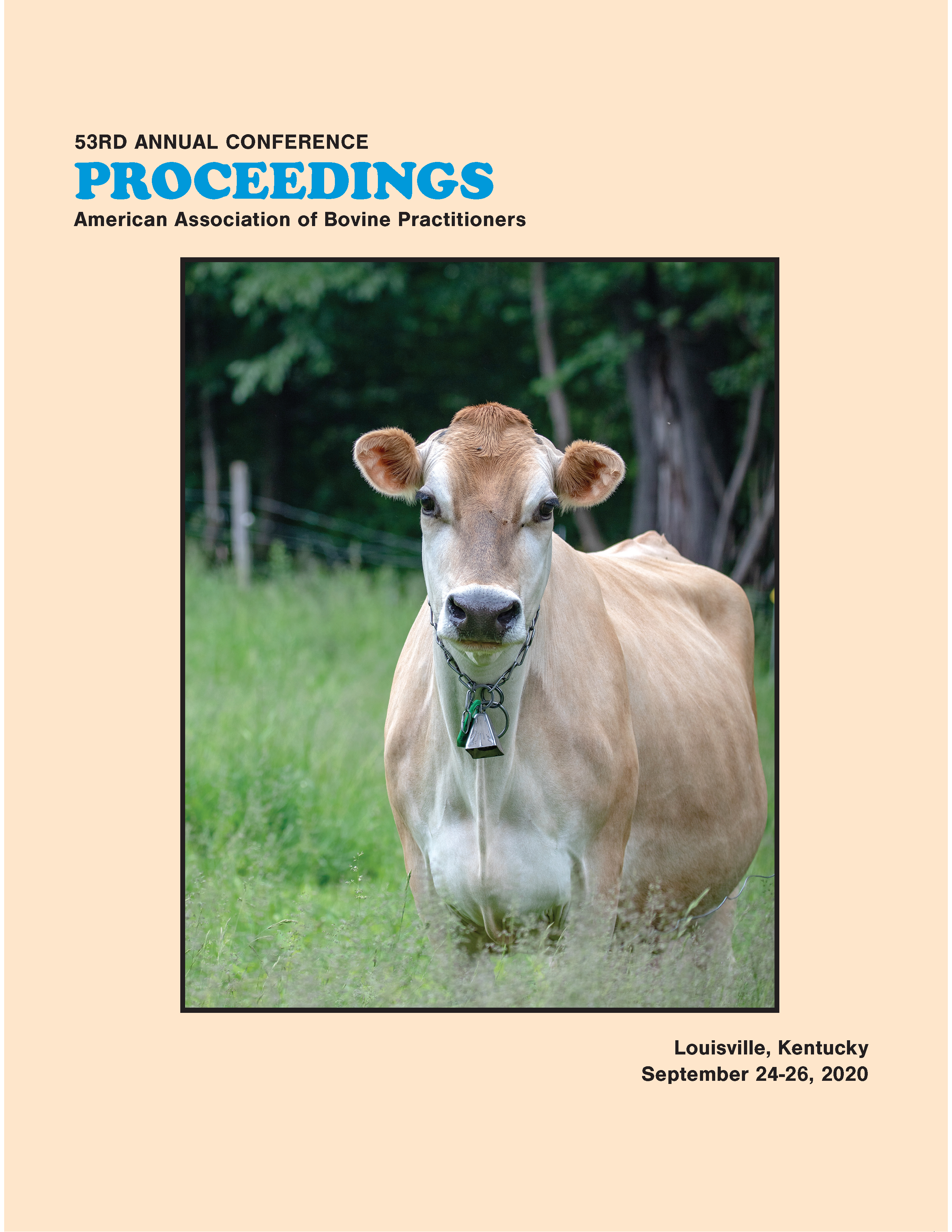 Cover image of the 53rd Conference Proceedings: A photo of a lone cow with a bell in a field.